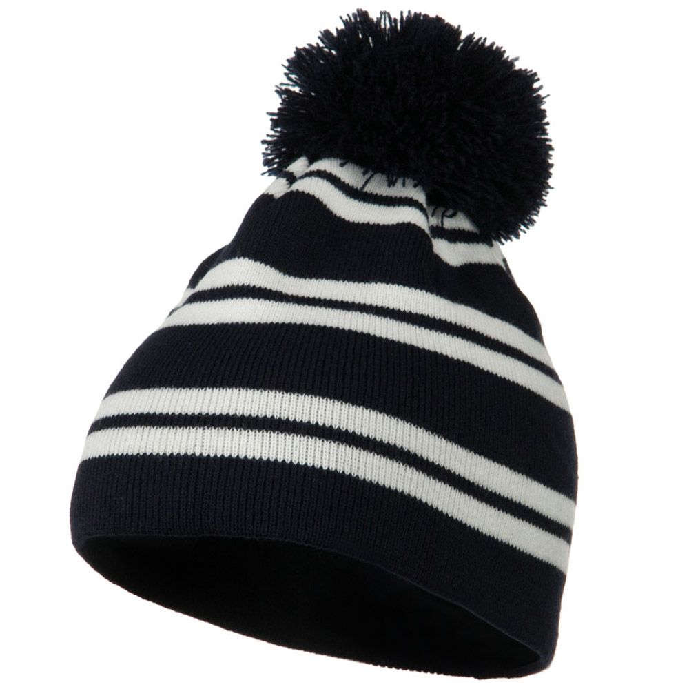 Jacquard White Stripe Knit Beanie with Pom - Navy - Hats and Caps Online Shop - Hip Head Gear