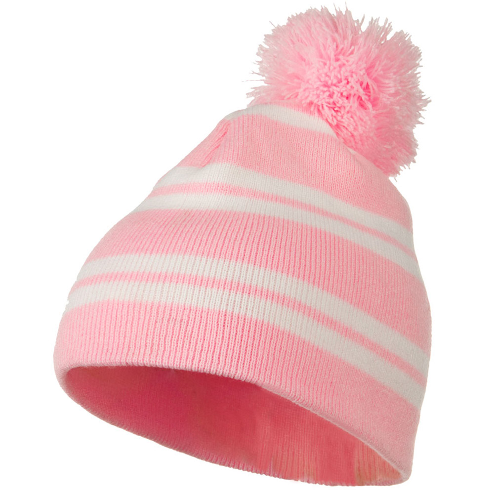 Jacquard White Stripe Knit Beanie with Pom - Pink - Hats and Caps Online Shop - Hip Head Gear