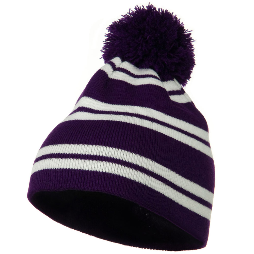Jacquard White Stripe Knit Beanie with Pom - Purple - Hats and Caps Online Shop - Hip Head Gear
