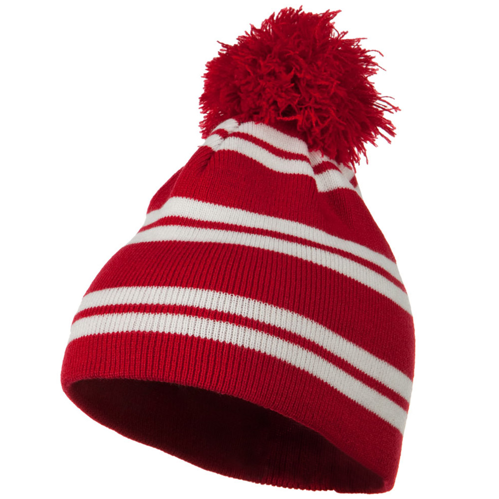 Jacquard White Stripe Knit Beanie with Pom - Red - Hats and Caps Online Shop - Hip Head Gear