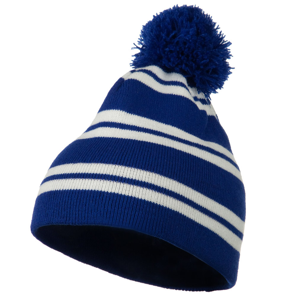 Jacquard White Stripe Knit Beanie with Pom - Royal - Hats and Caps Online Shop - Hip Head Gear
