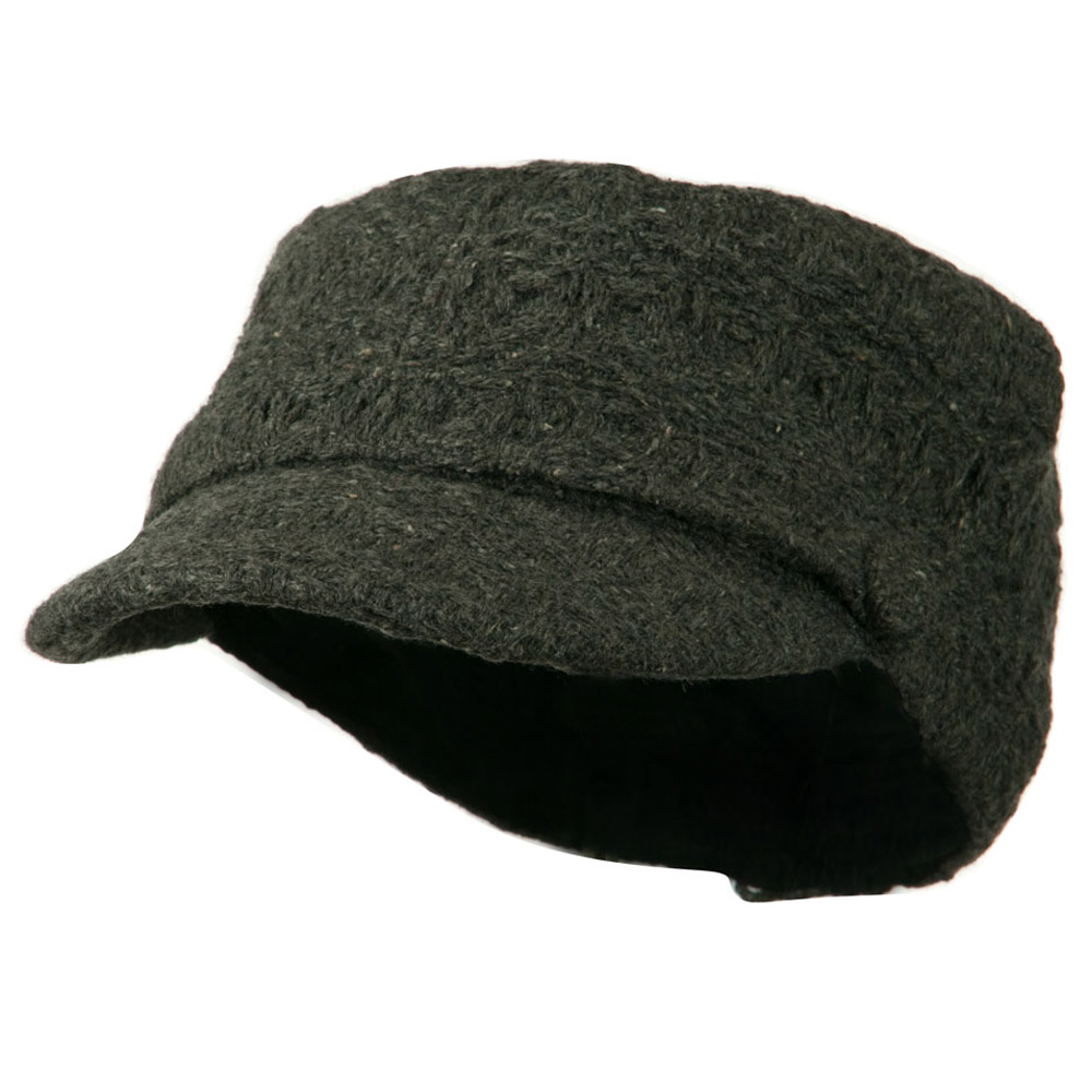 Knit Army Cap with Buttons - Grey - Hats and Caps Online Shop - Hip Head Gear