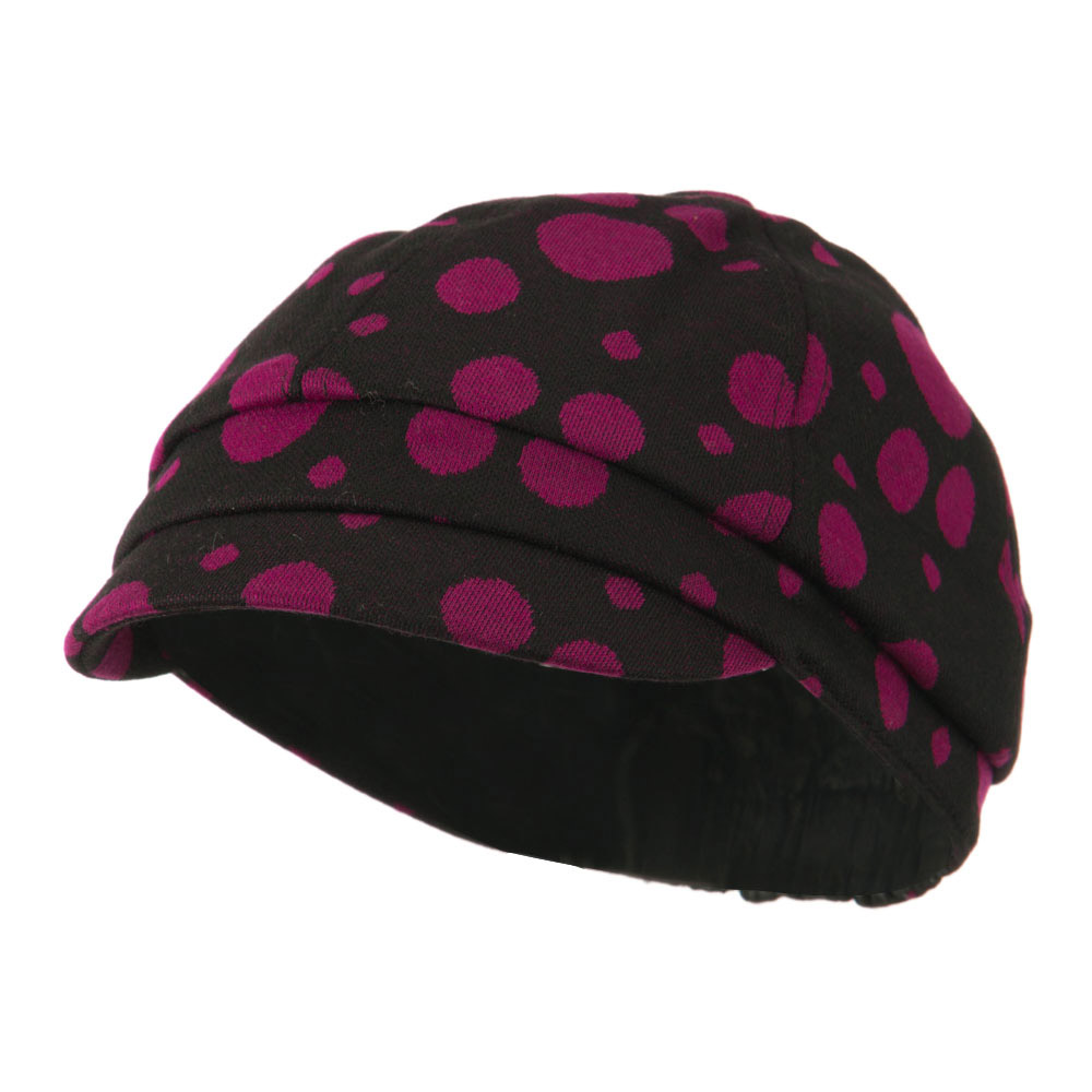 Girl's Polka Dots Elastic Cabby Cap - Fuchsia - Hats and Caps Online Shop - Hip Head Gear