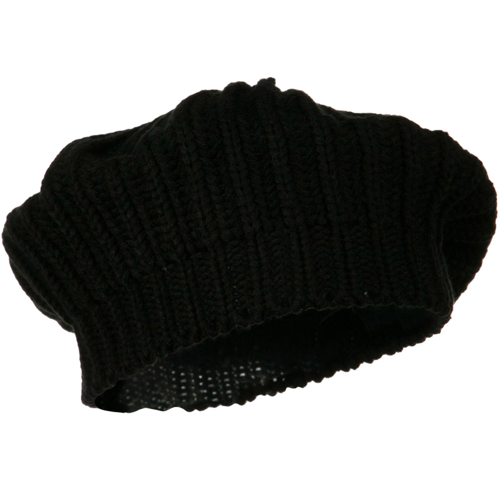 Acrylic Knitted Beret - Black - Hats and Caps Online Shop - Hip Head Gear
