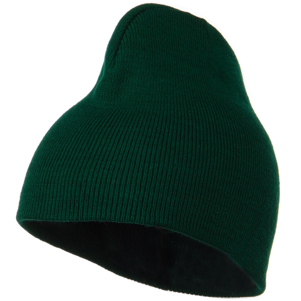 8 Inch Knitted Short Beanie - Dark Green