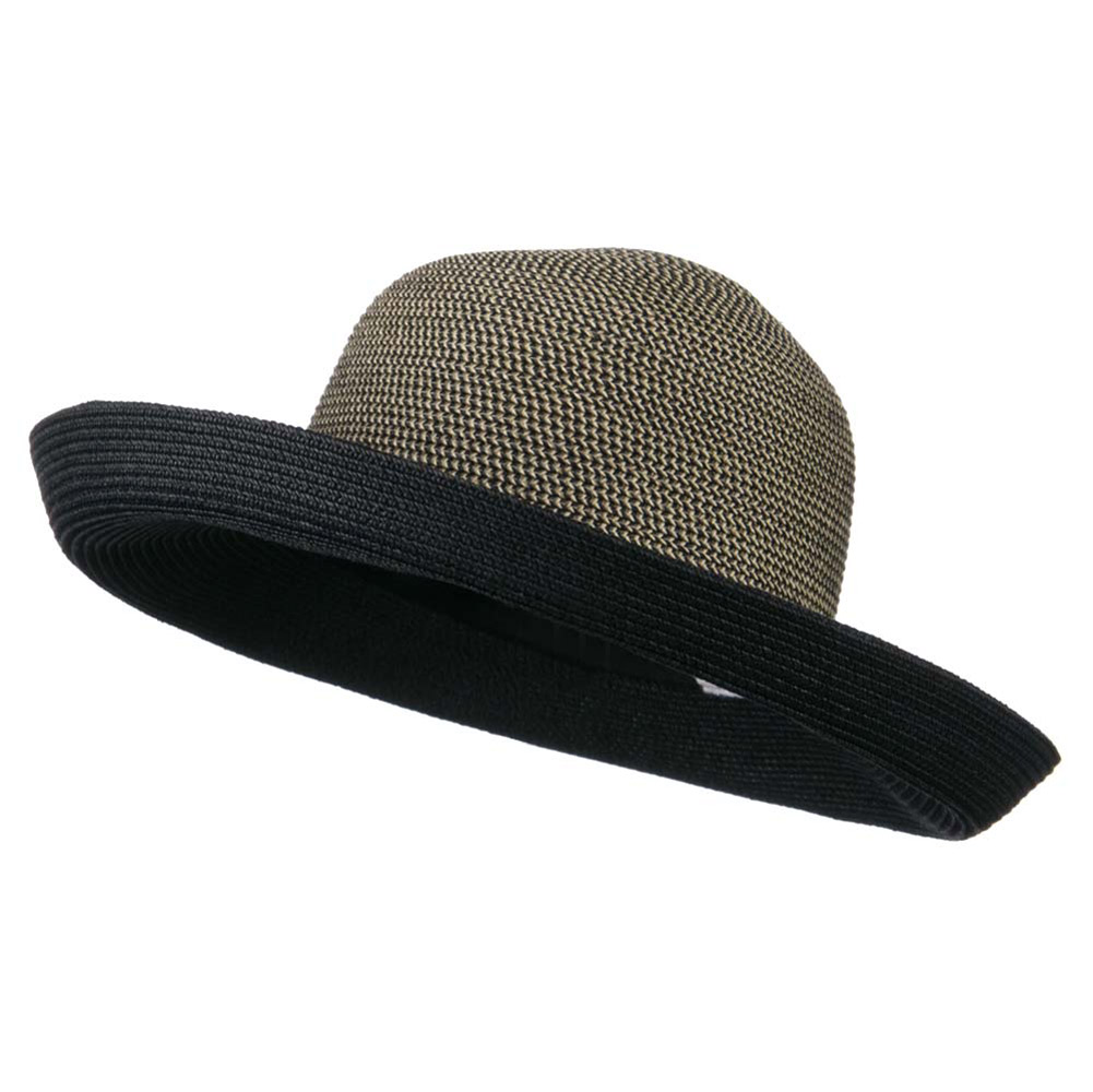 Kettle Brim Two Tone UPF 50+ Cotton Paper Braid Hat - Black Tweed - Hats and Caps Online Shop - Hip Head Gear