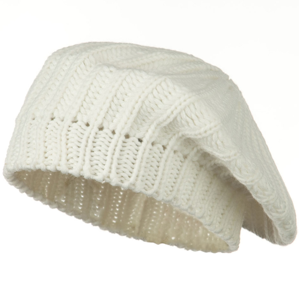 Acrylic Knitted Beret - Ivory - Hats and Caps Online Shop - Hip Head Gear