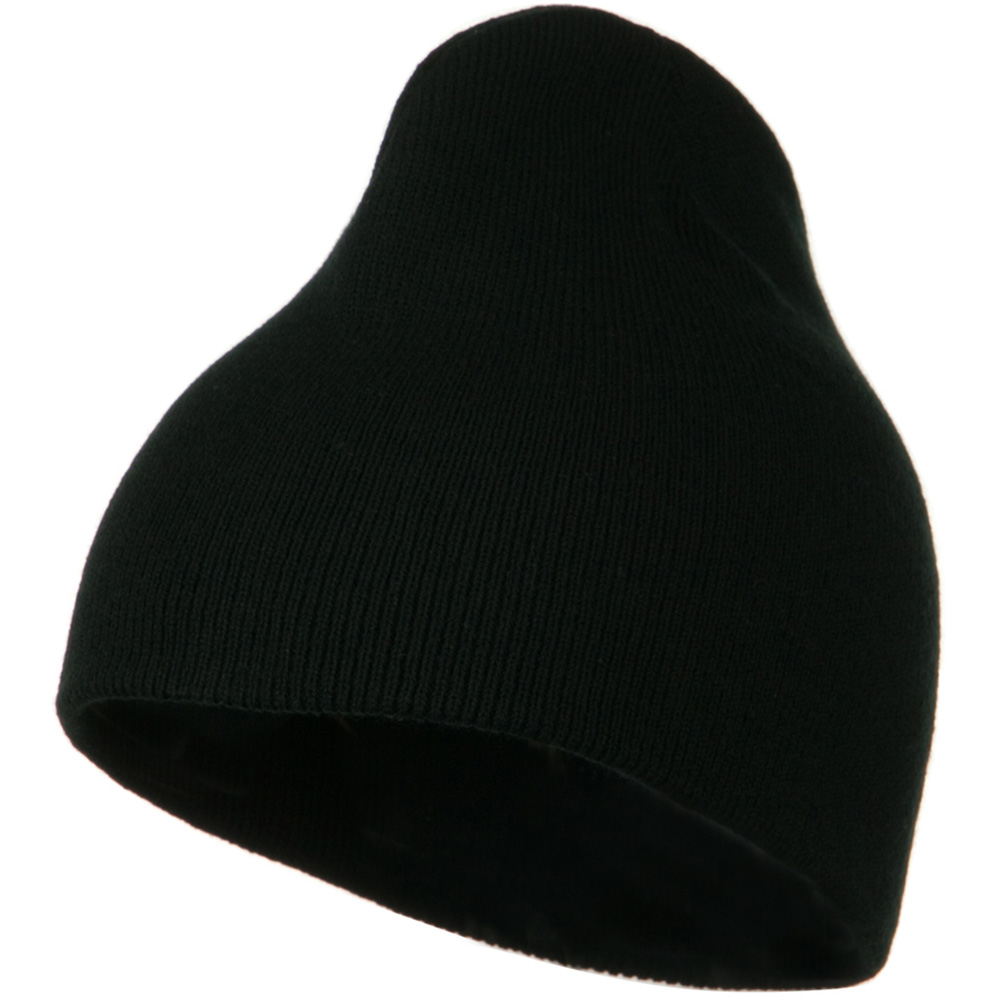 8 Inch Knitted Short Beanie - Black - Hats and Caps Online Shop - Hip Head Gear