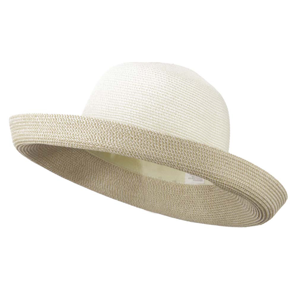 Kettle Brim Two Tone UPF 50+ Cotton Paper Braid Hat - White Tweed - Hats and Caps Online Shop - Hip Head Gear