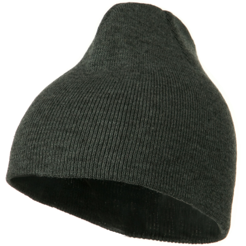 8 Inch Knitted Short Beanie - Dark Grey - Hats and Caps Online Shop - Hip Head Gear
