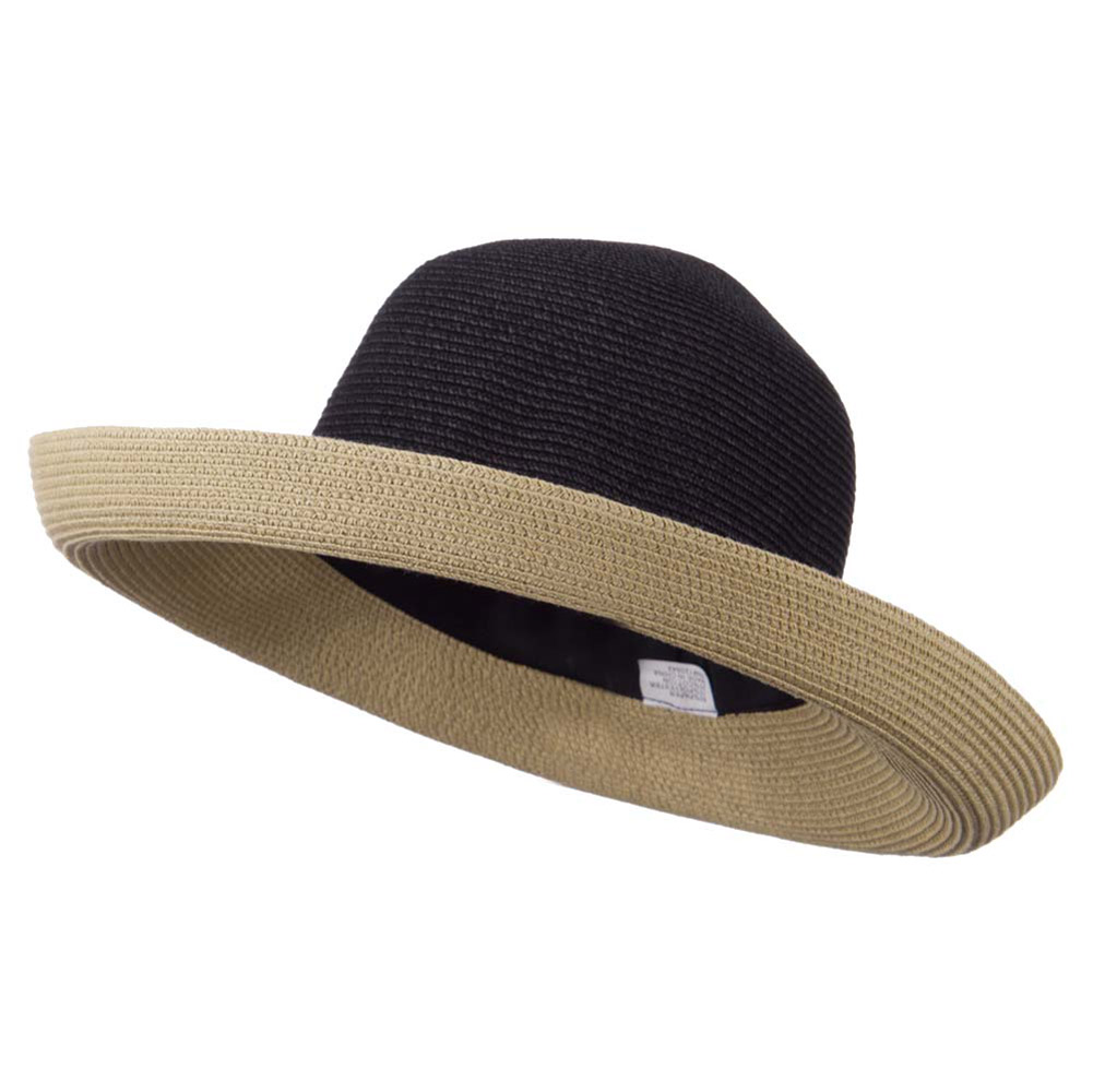 Kettle Brim Two Tone UPF 50+ Cotton Paper Braid Hat - Black Tan - Hats and Caps Online Shop - Hip Head Gear