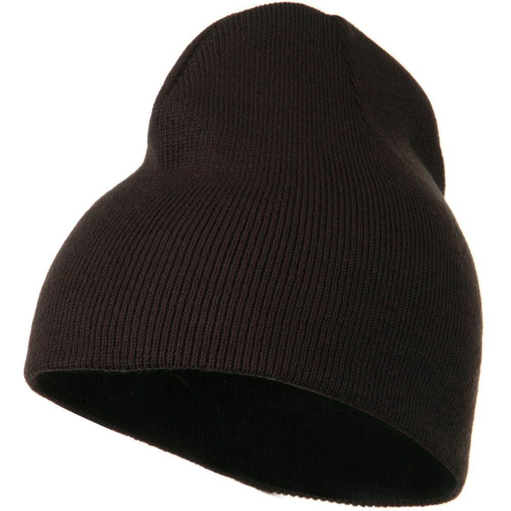 8 Inch Knitted Short Beanie - Dark Brown
