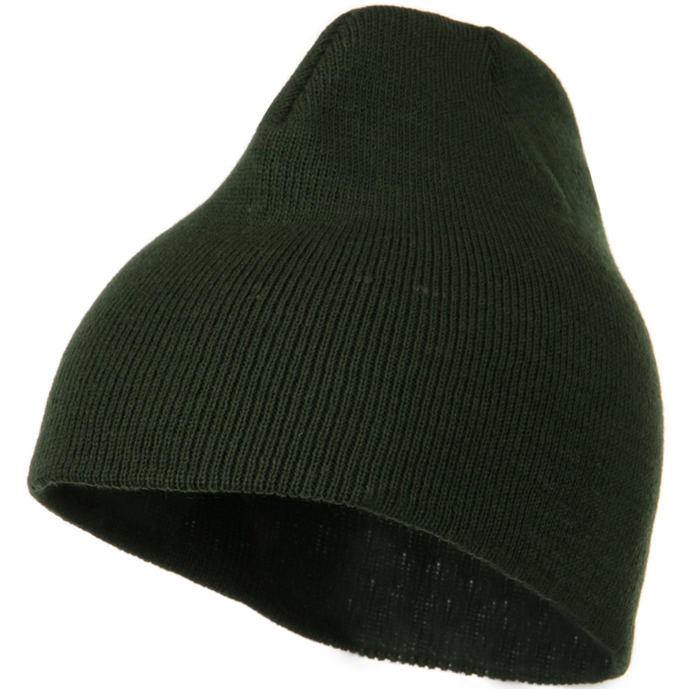 8 Inch Knitted Short Beanie - Olive - Hats and Caps Online Shop - Hip Head Gear