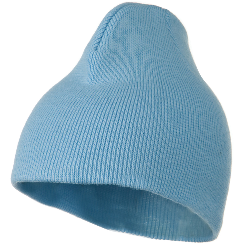8 Inch Knitted Short Beanie - Light Blue