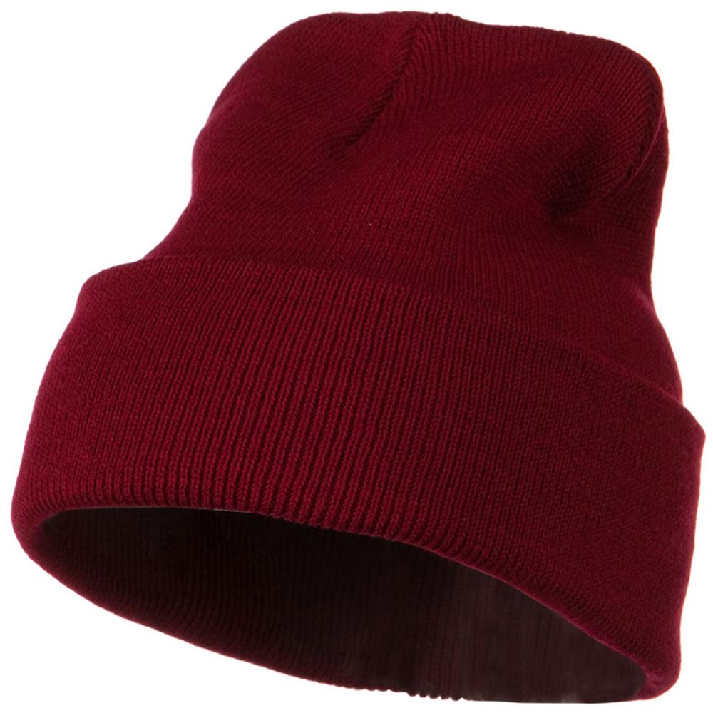 12 Inch Long Knitted Beanie - Maroon - Hats and Caps Online Shop - Hip Head Gear
