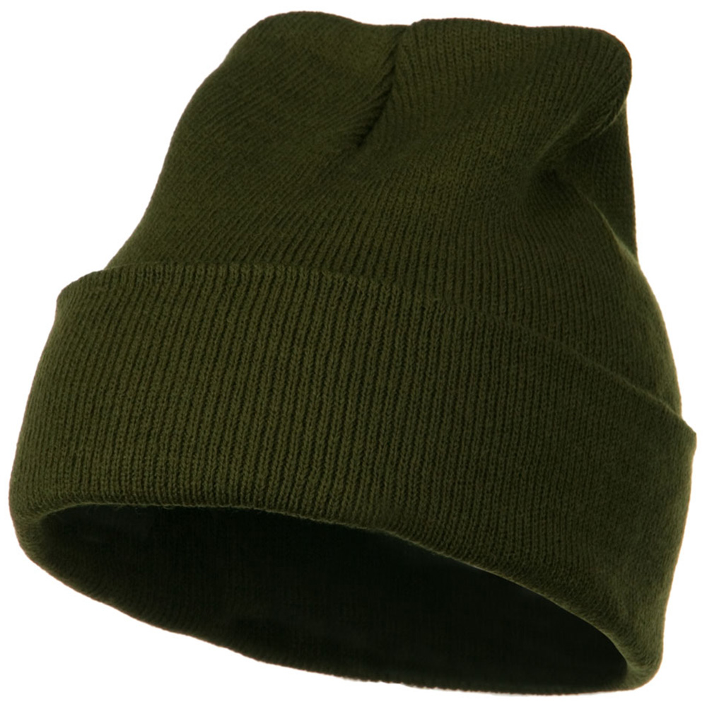 12 Inch Long Knitted Beanie - Olive - Hats and Caps Online Shop - Hip Head Gear