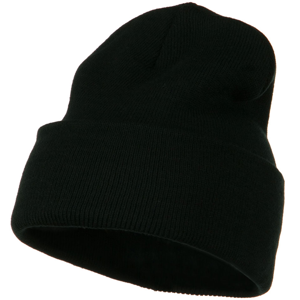 12 Inch Long Knitted Beanie - Black - Hats and Caps Online Shop - Hip Head Gear