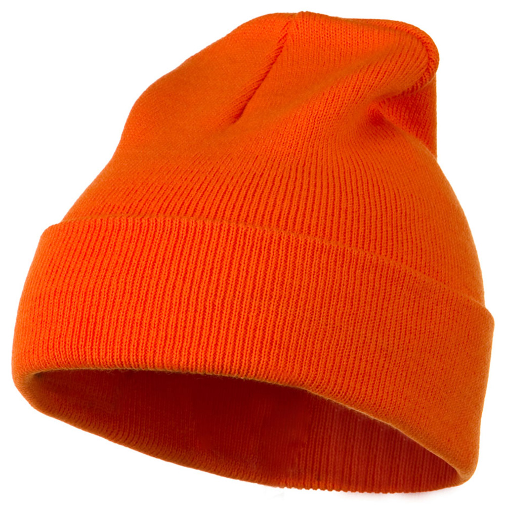 12 Inch Long Knitted Beanie - Orange - Hats and Caps Online Shop - Hip Head Gear