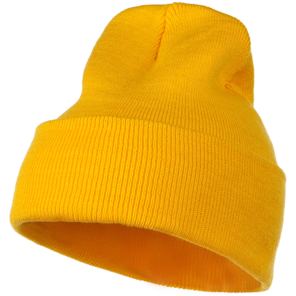 12 Inch Long Knitted Beanie - Yellow - Hats and Caps Online Shop - Hip Head Gear
