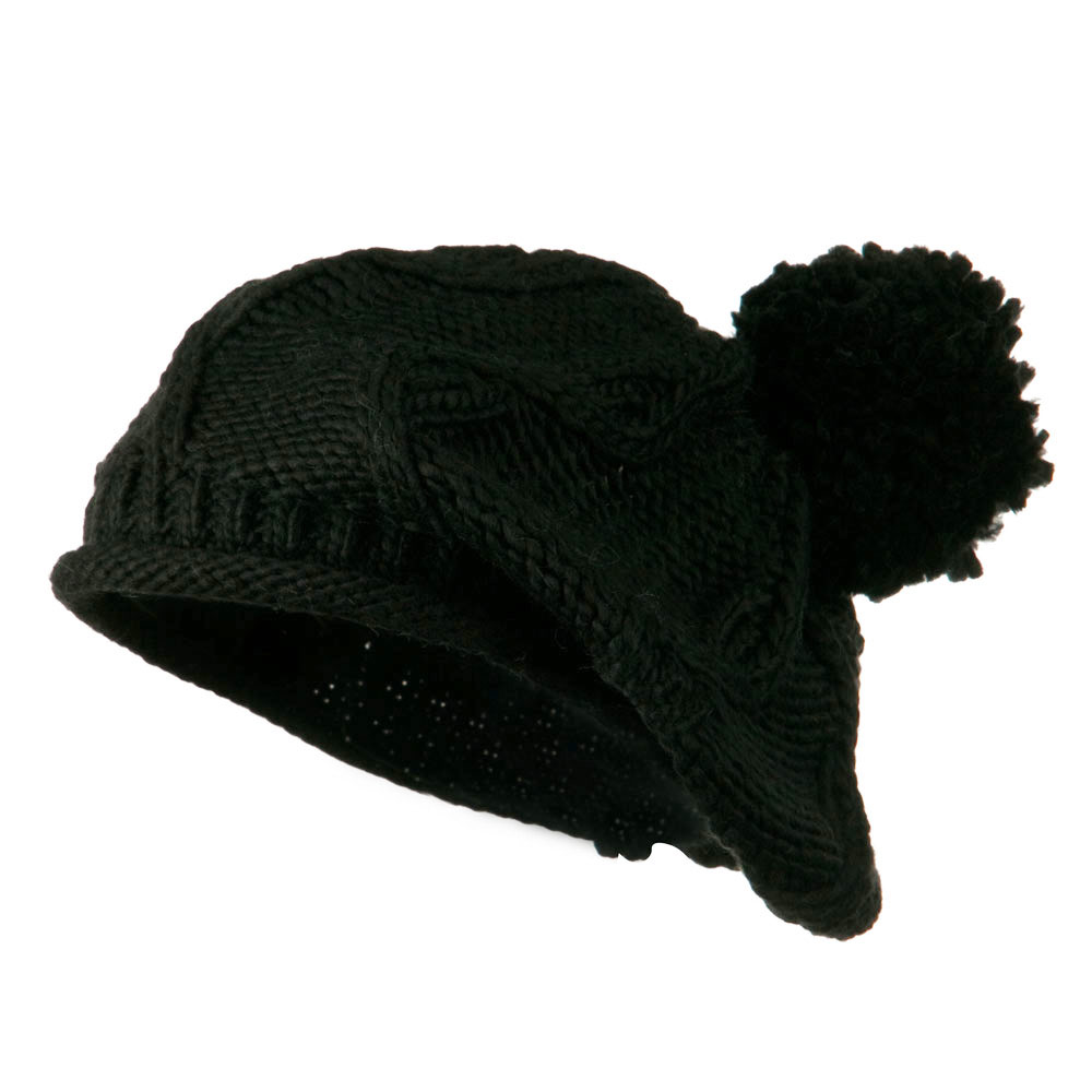 Knit Beret with Pom Pom - Black - Hats and Caps Online Shop - Hip Head Gear