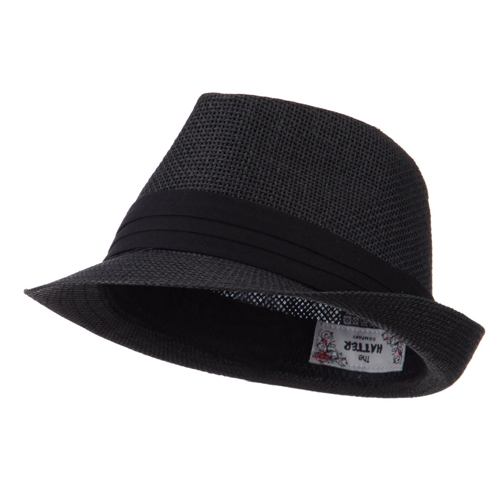 Kid's Paper Straw Black Band Fedora - Black - Hats and Caps Online Shop - Hip Head Gear