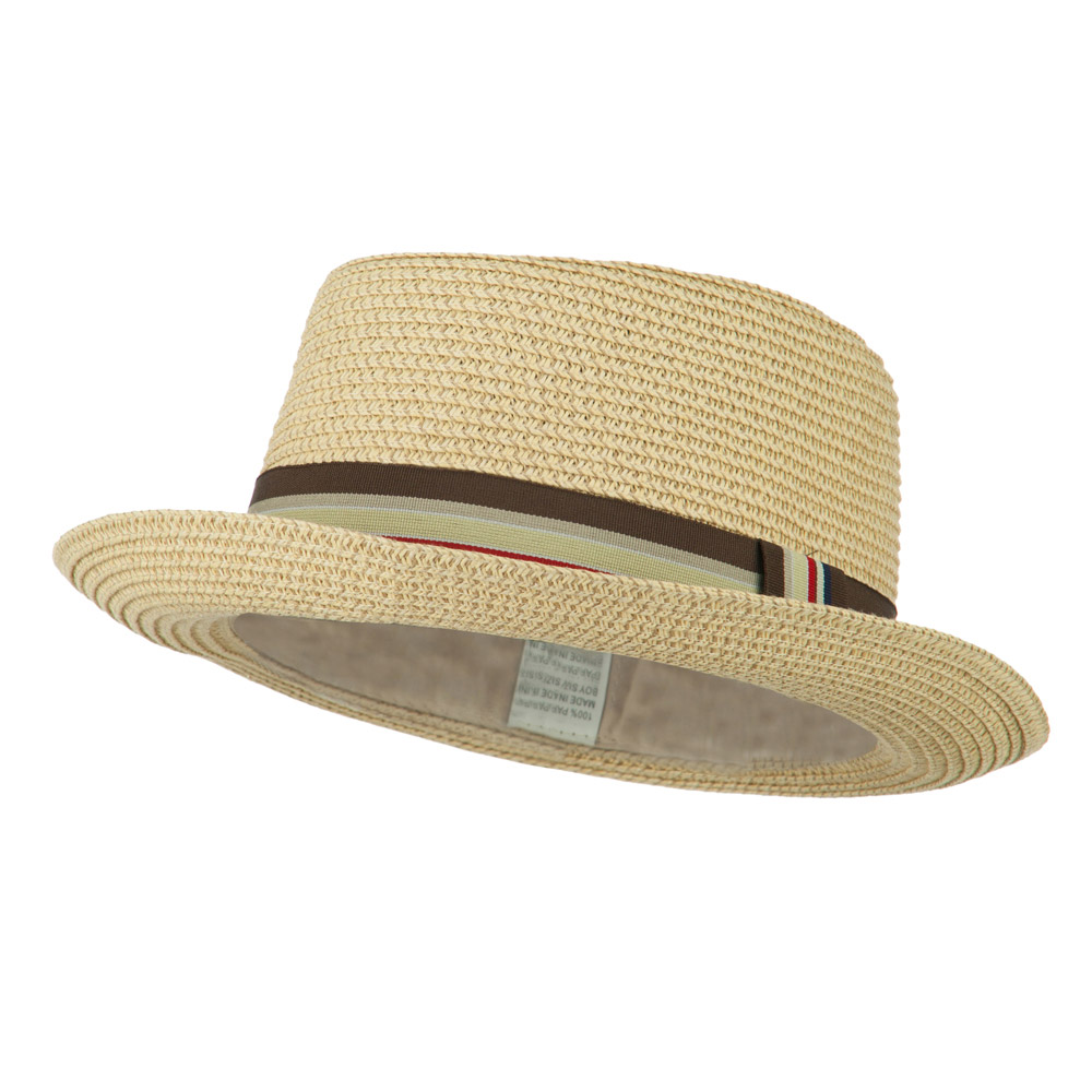 Kid's Pork Pie Stripe Band Fedora - Beige - Hats and Caps Online Shop - Hip Head Gear