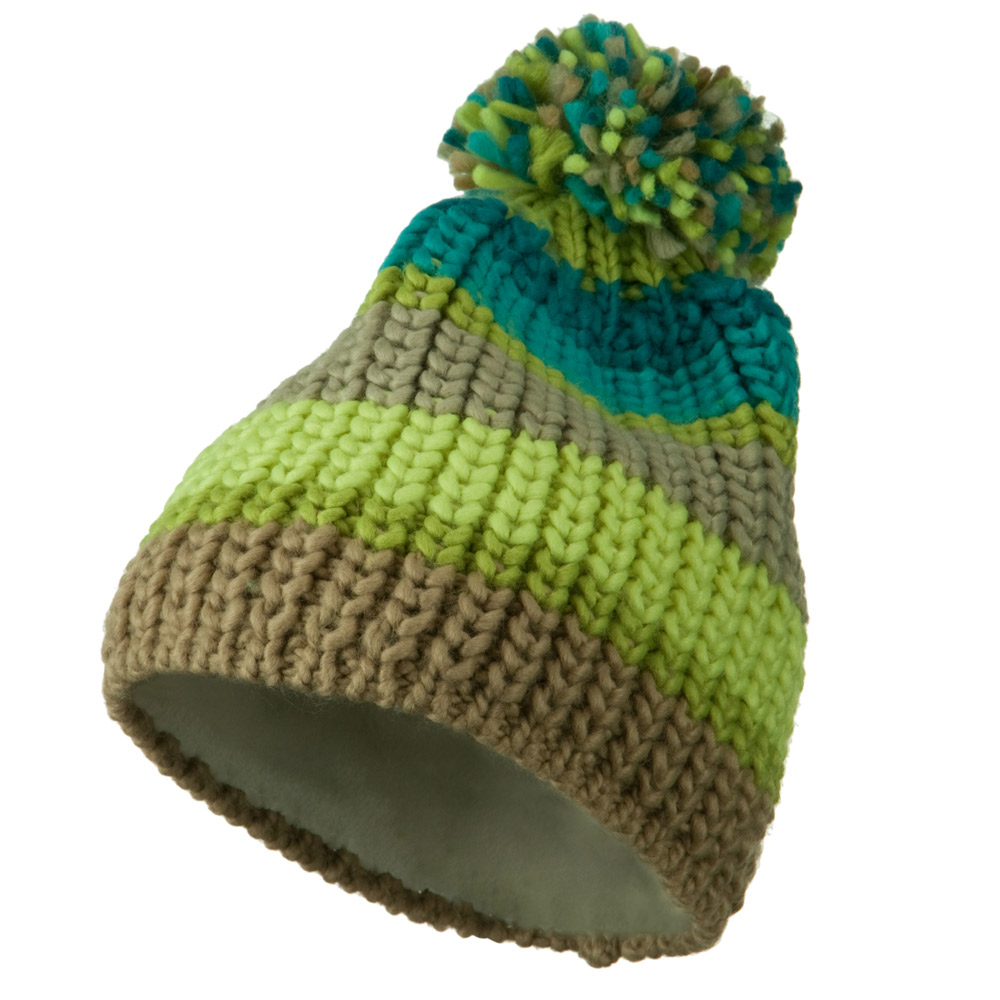 Colorful Knitted Pom Pom Beanie Cap - Green - Hats and Caps Online Shop - Hip Head Gear
