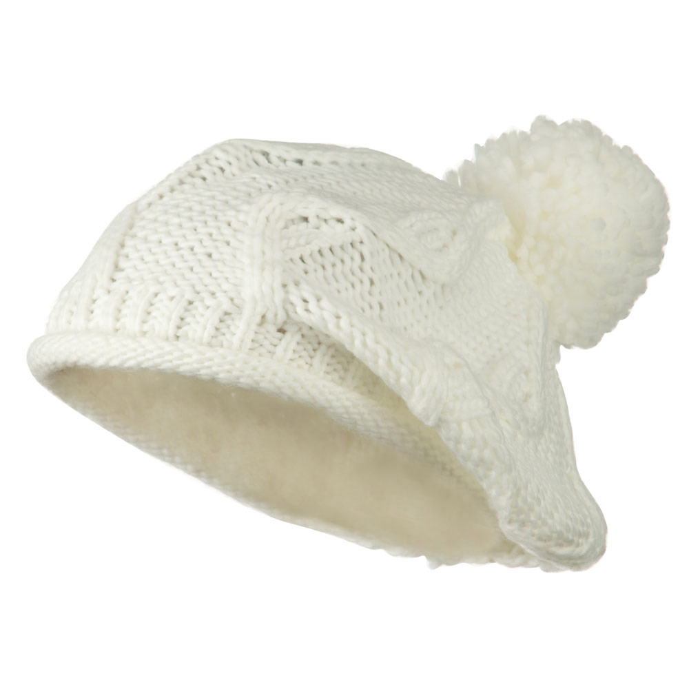 Knit Beret with Pom Pom - White - Hats and Caps Online Shop - Hip Head Gear