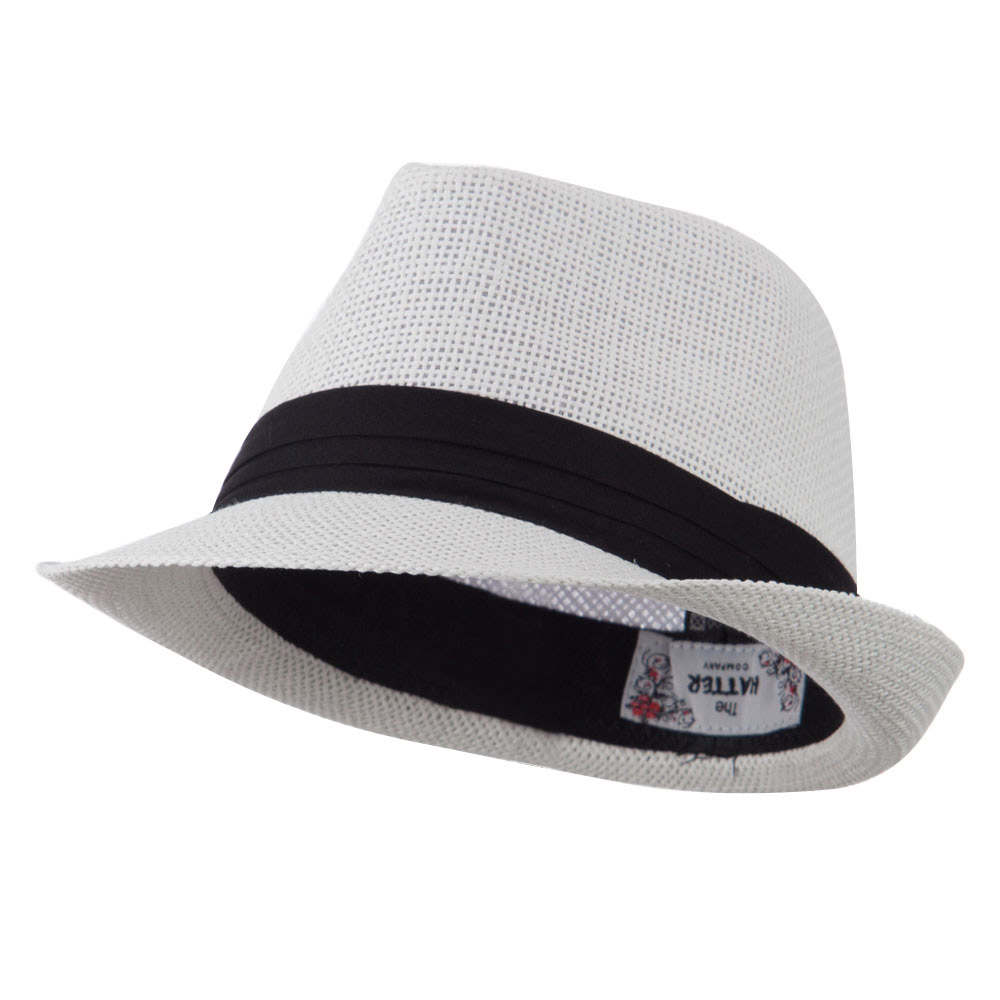 Kid's Paper Straw Black Band Fedora - White - Hats and Caps Online Shop - Hip Head Gear