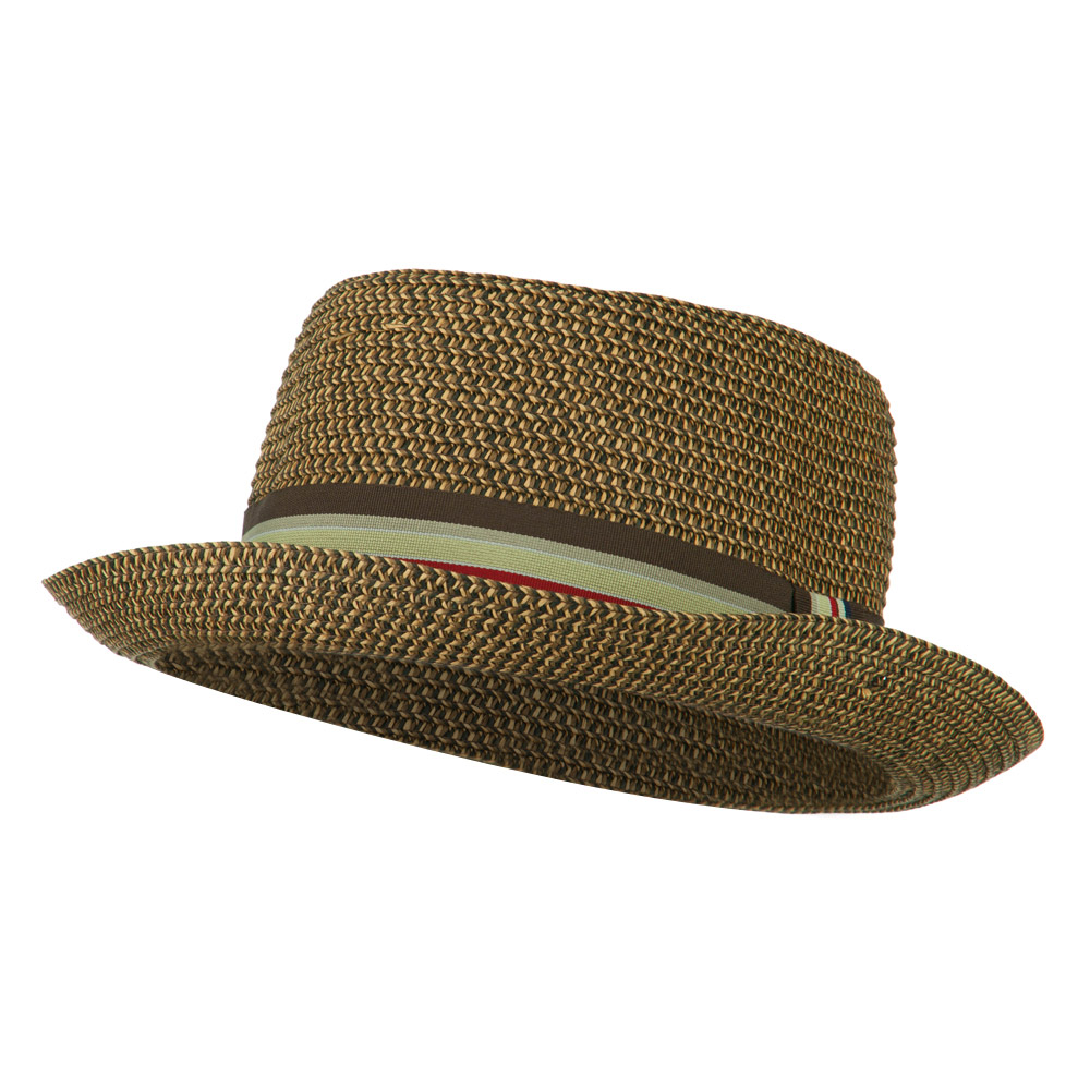 Kid's Pork Pie Stripe Band Fedora - Brown - Hats and Caps Online Shop - Hip Head Gear