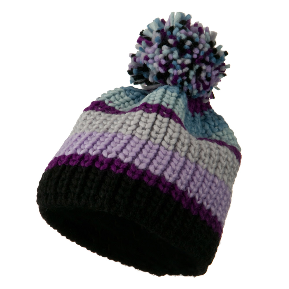 Colorful Knitted Pom Pom Beanie Cap - Purple - Hats and Caps Online Shop - Hip Head Gear