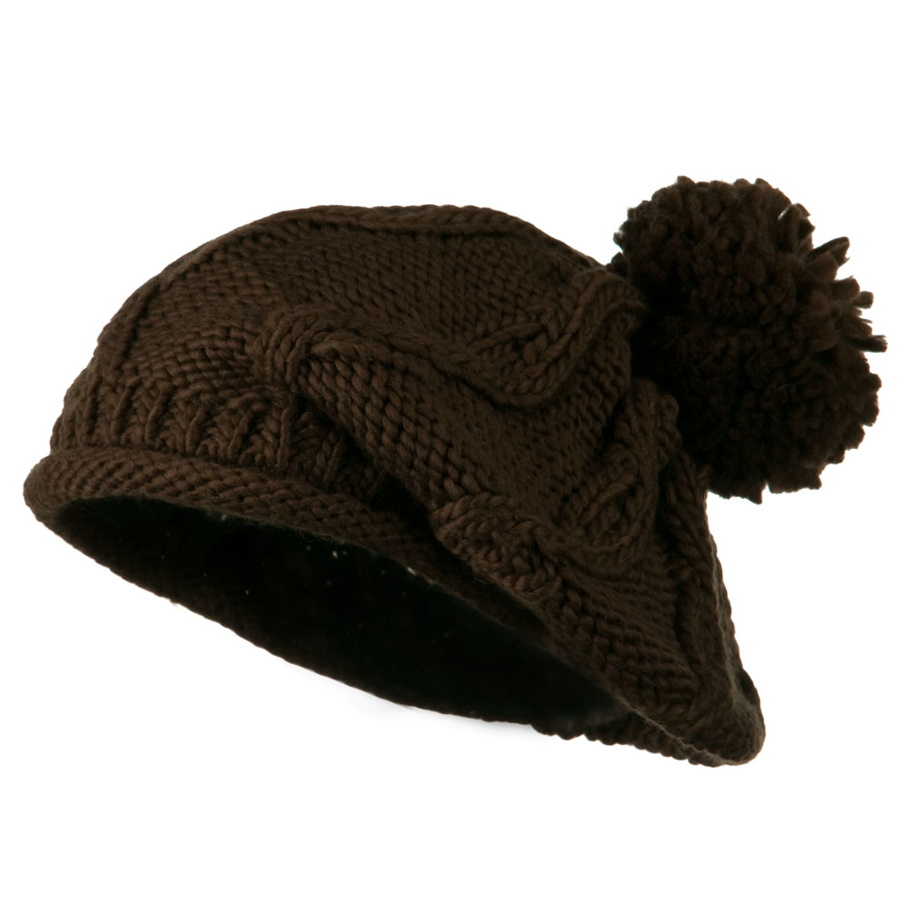 Knit Beret with Pom Pom - Brown - Hats and Caps Online Shop - Hip Head Gear