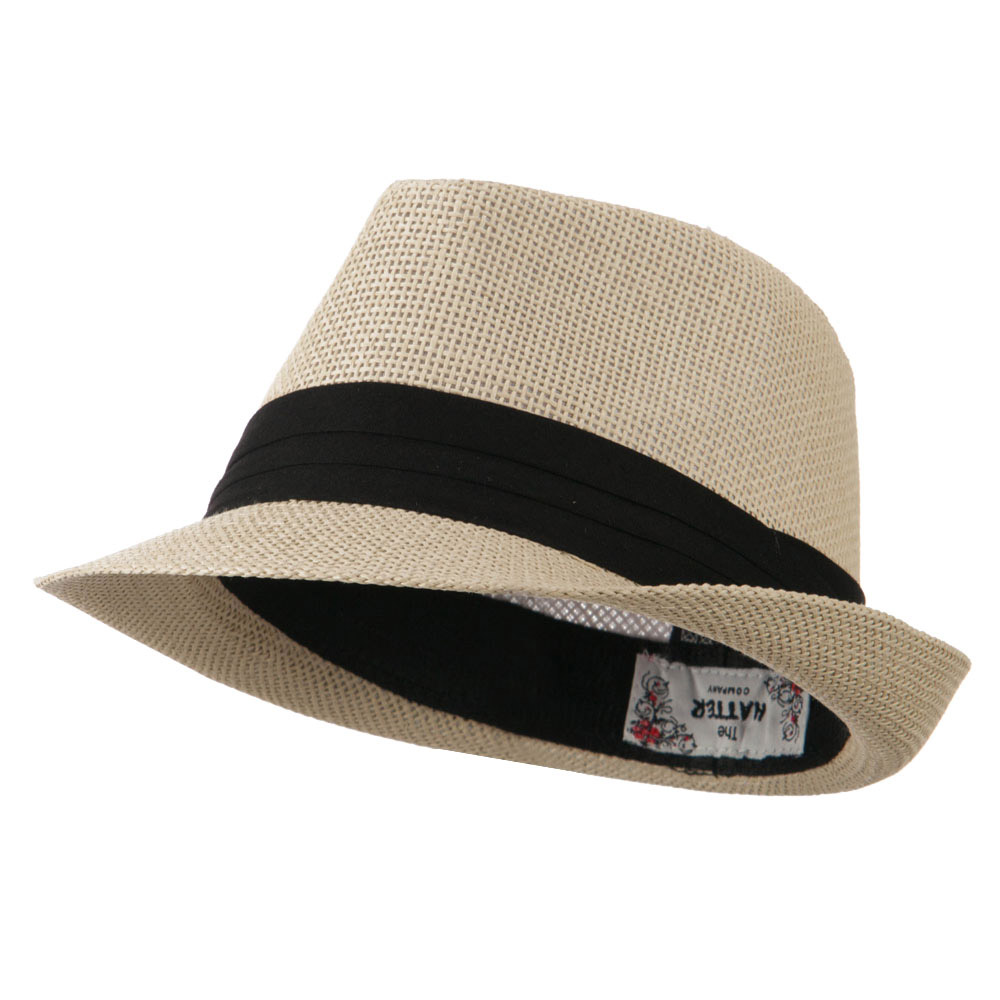 Kid's Paper Straw Black Band Fedora - Tan - Hats and Caps Online Shop - Hip Head Gear