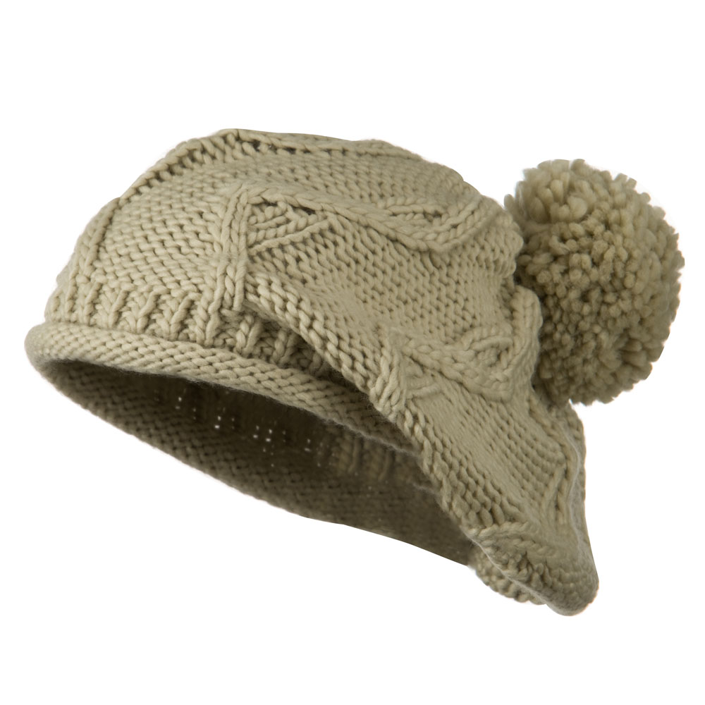 Knit Beret with Pom Pom - Taupe - Hats and Caps Online Shop - Hip Head Gear