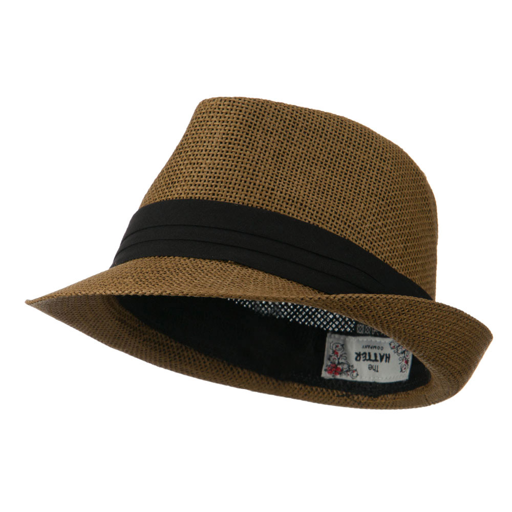 Kid's Paper Straw Black Band Fedora - Brown - Hats and Caps Online Shop - Hip Head Gear