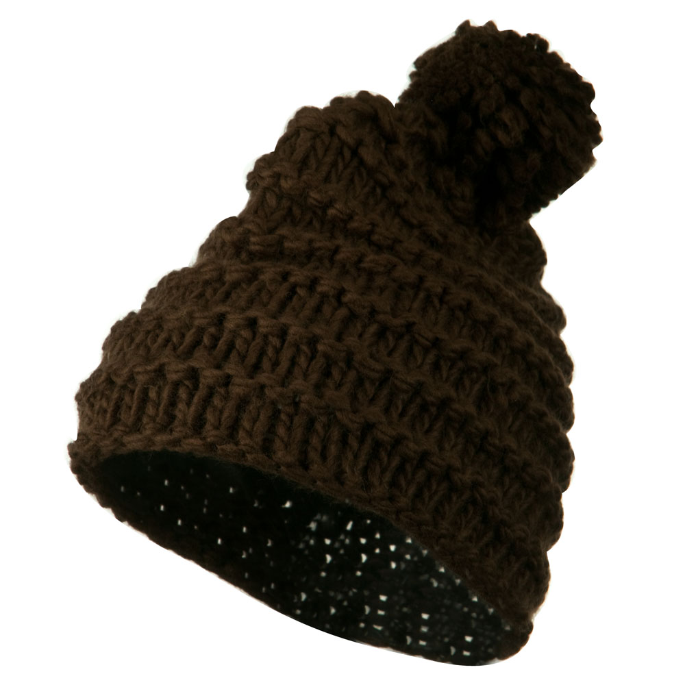 Knit Short Beanie Hat with Pom Pom - Brown - Hats and Caps Online Shop - Hip Head Gear