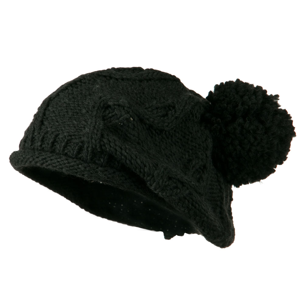 Knit Beret with Pom Pom - Charcoal - Hats and Caps Online Shop - Hip Head Gear