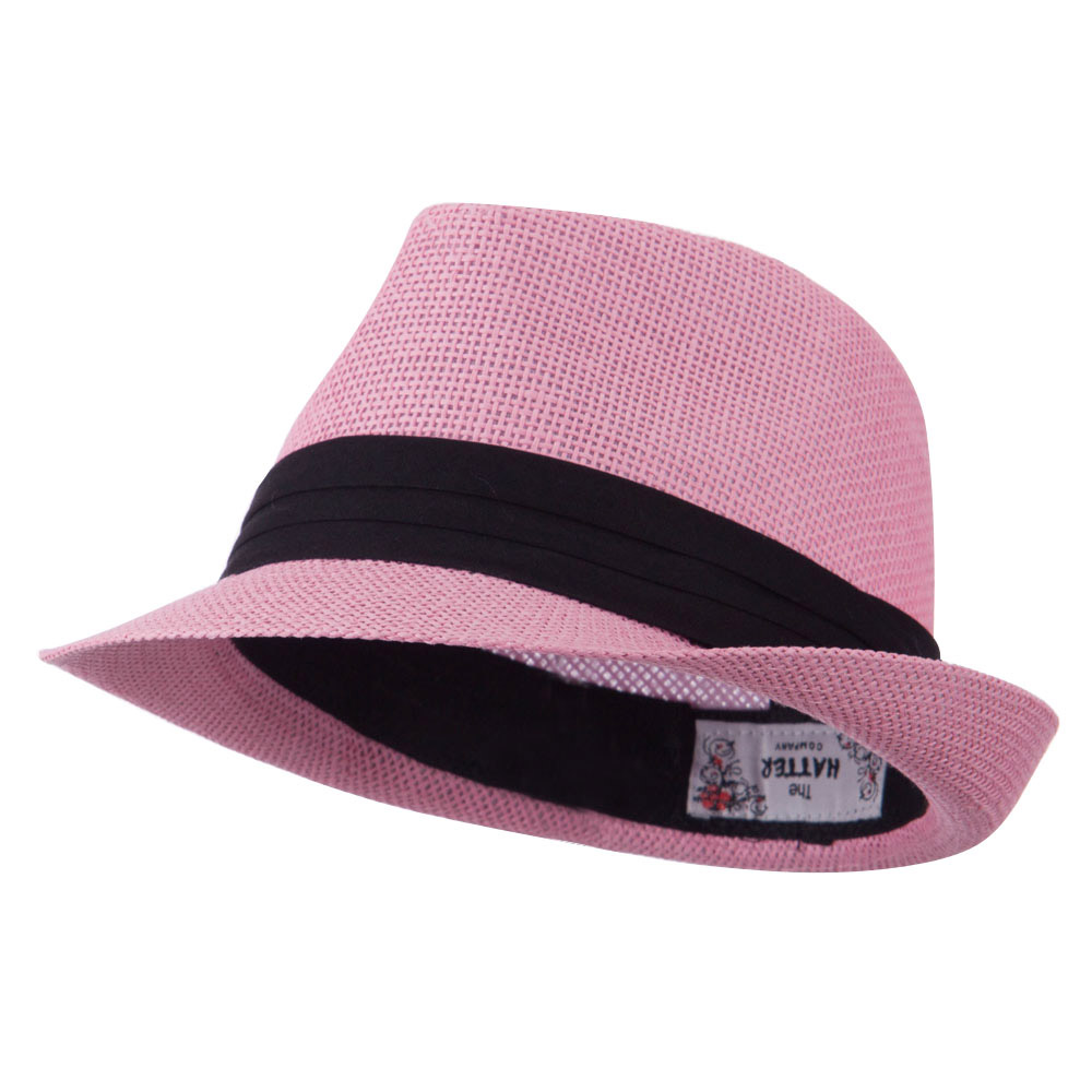 Kid's Paper Straw Black Band Fedora - Pink - Hats and Caps Online Shop - Hip Head Gear