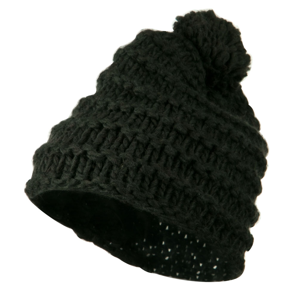 Knit Short Beanie Hat with Pom Pom - Grey - Hats and Caps Online Shop - Hip Head Gear