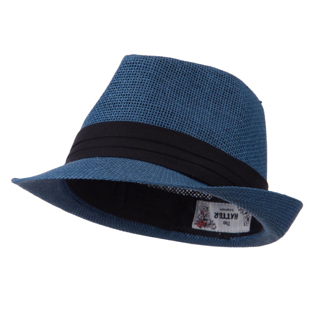 Kid's Paper Straw Black Band Fedora - Navy - Hats and Caps Online Shop - Hip Head Gear