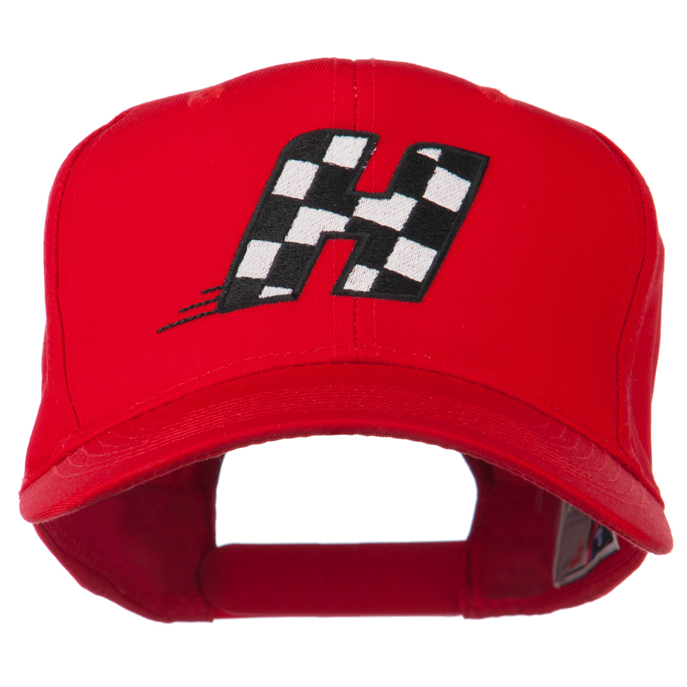 Checkered Flag Alphabet Embroidered Red High Profile Cap - H