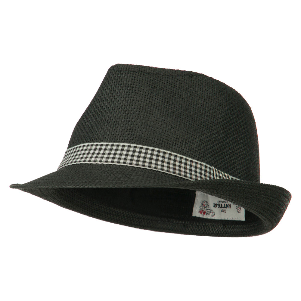 Checker Band Fedora - Black - Hats and Caps Online Shop - Hip Head Gear