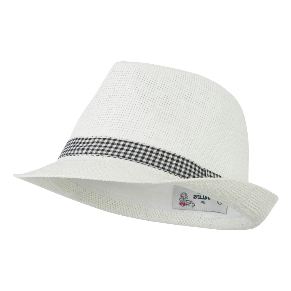 Checker Band Fedora - White - Hats and Caps Online Shop - Hip Head Gear