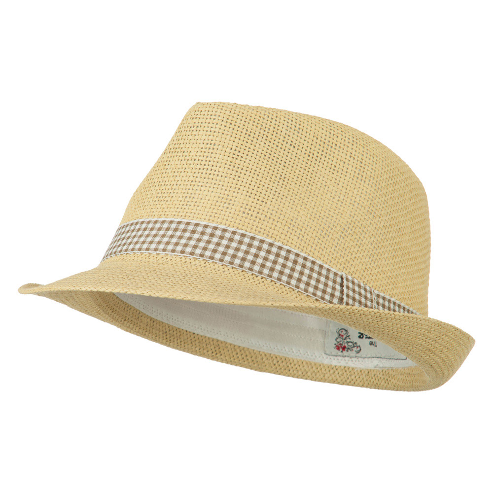 Checker Band Fedora - Natural - Hats and Caps Online Shop - Hip Head Gear