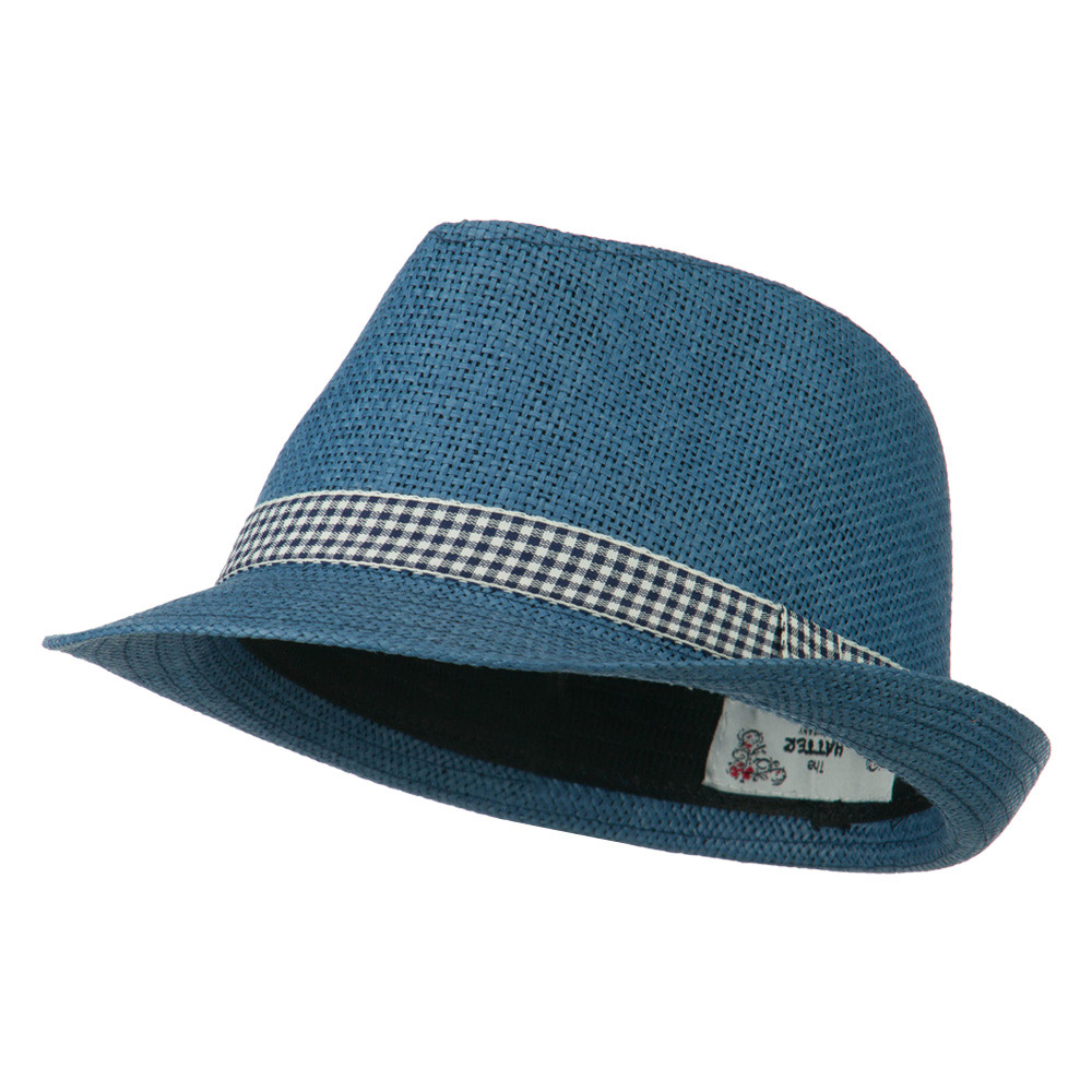 Checker Band Fedora - Navy - Hats and Caps Online Shop - Hip Head Gear