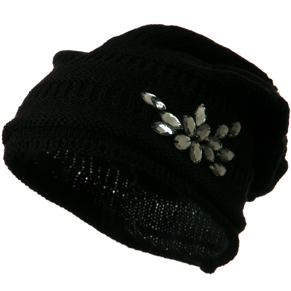 Knit Deep Shell Hat with Rhinestone - Black - Hats and Caps Online Shop - Hip Head Gear