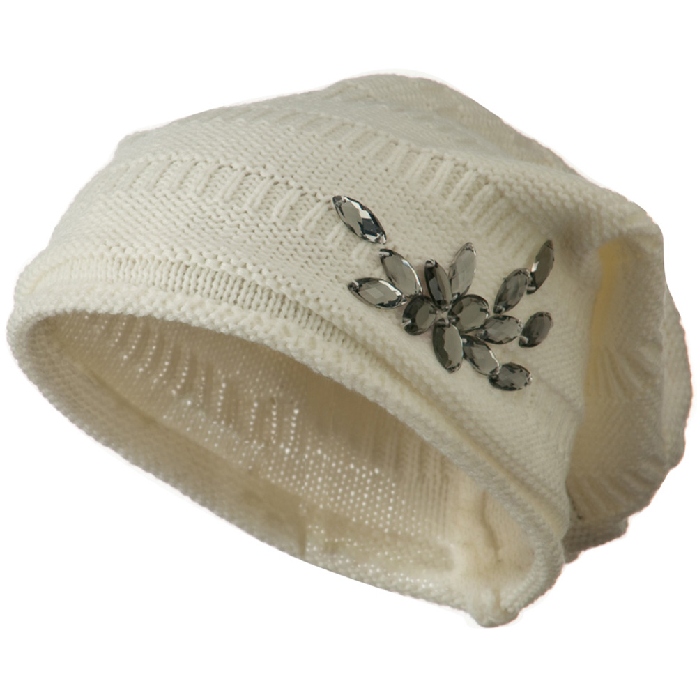 Knit Deep Shell Hat with Rhinestone - White - Hats and Caps Online Shop - Hip Head Gear