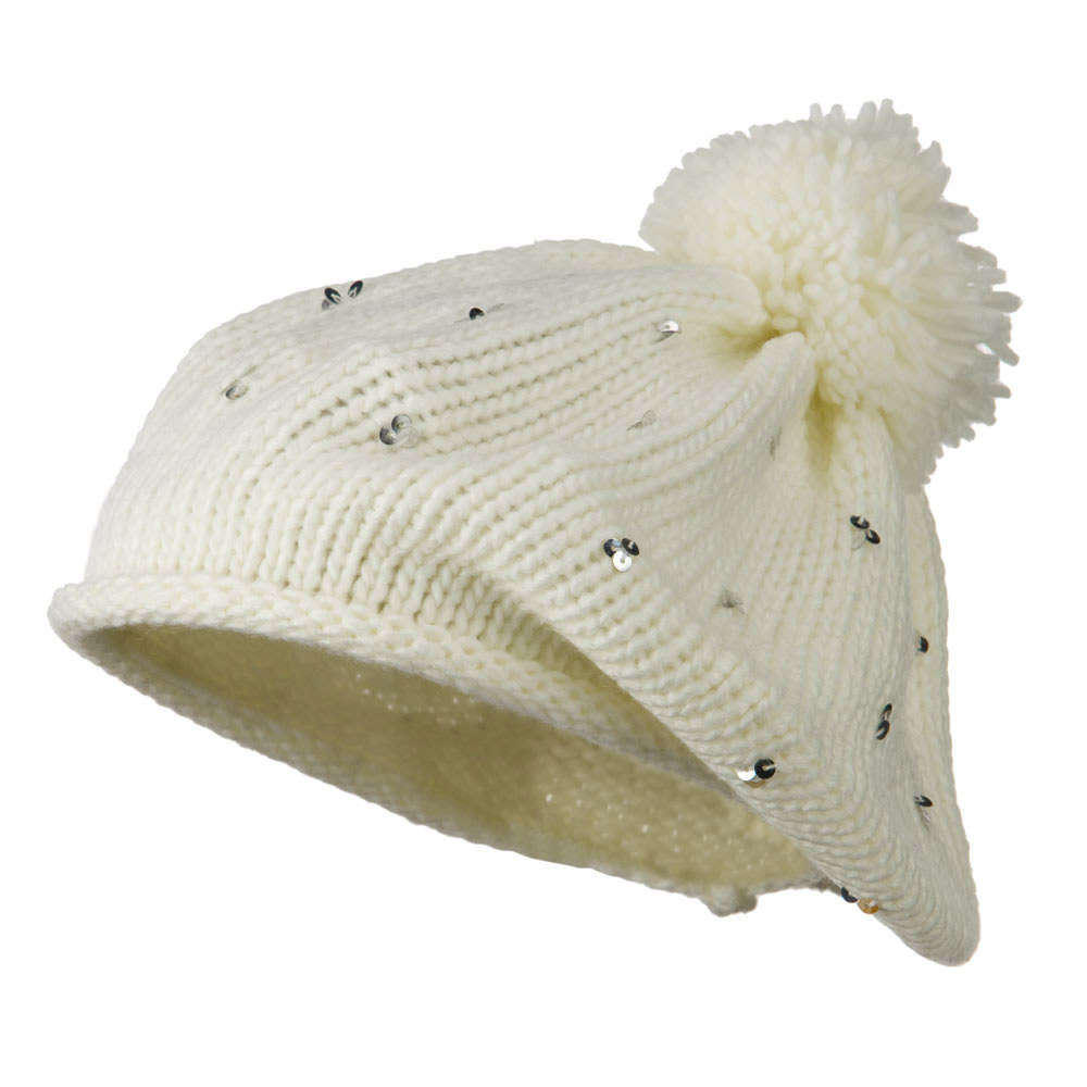Knit Beret with Sequin and Tassel - White
