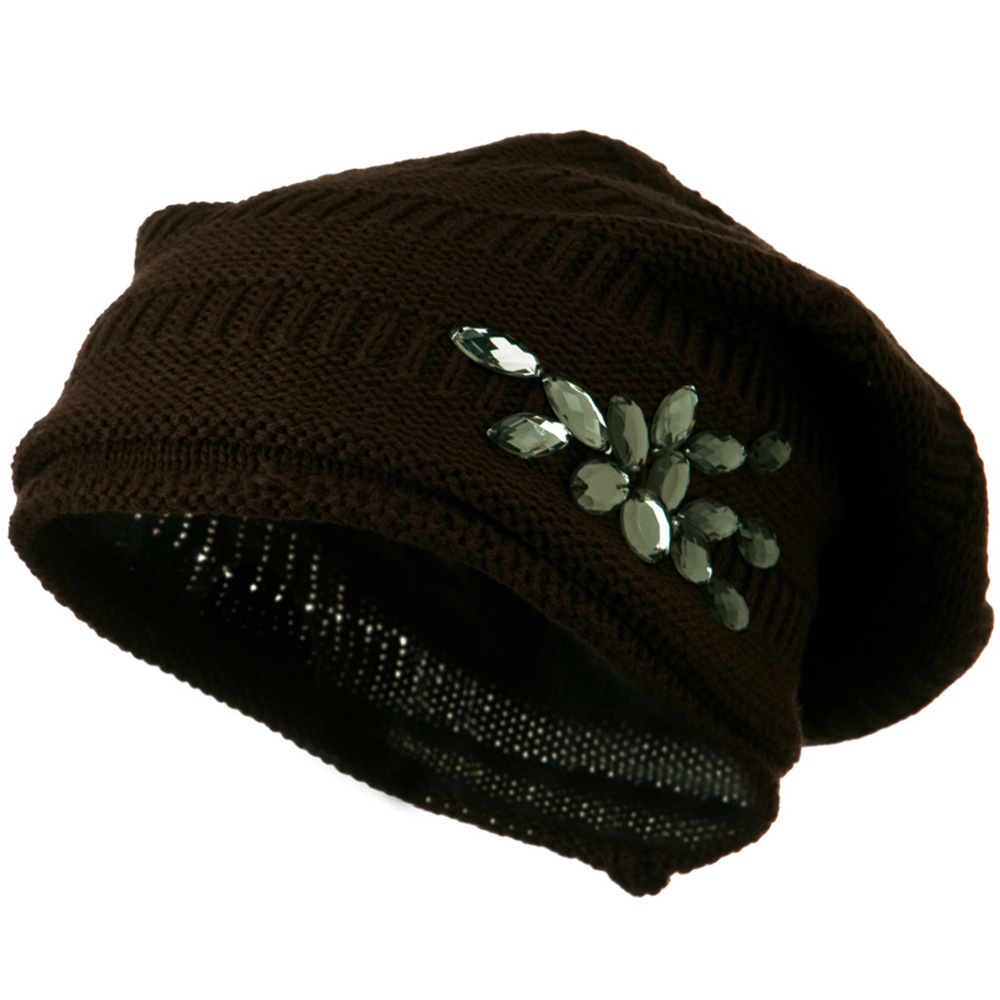 Knit Deep Shell Hat with Rhinestone - Brown