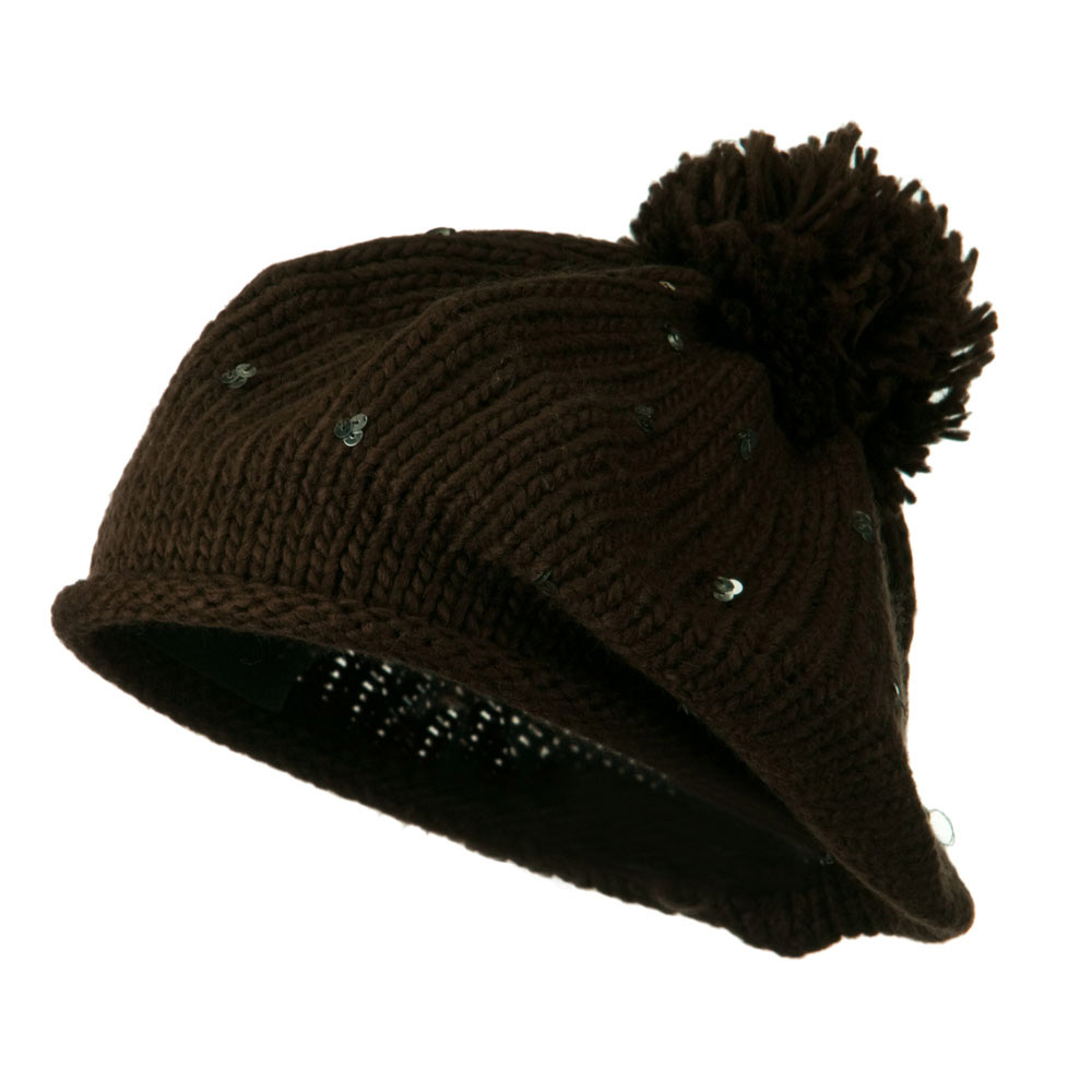 Knit Beret with Sequin and Tassel - Brown - Hats and Caps Online Shop - Hip Head Gear